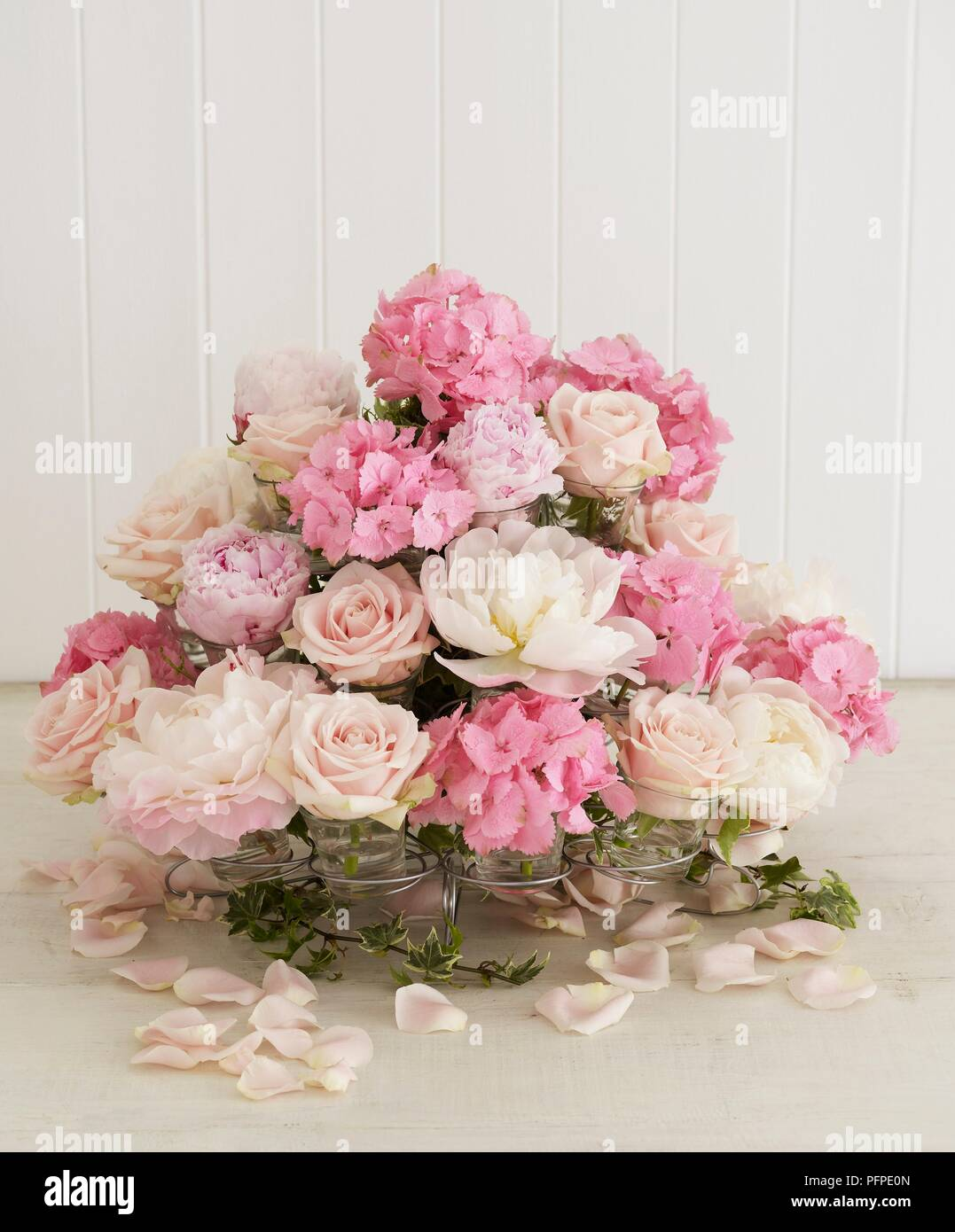 Pink And White Flower Arrangement Of Hydrangeas Roses Peonies And