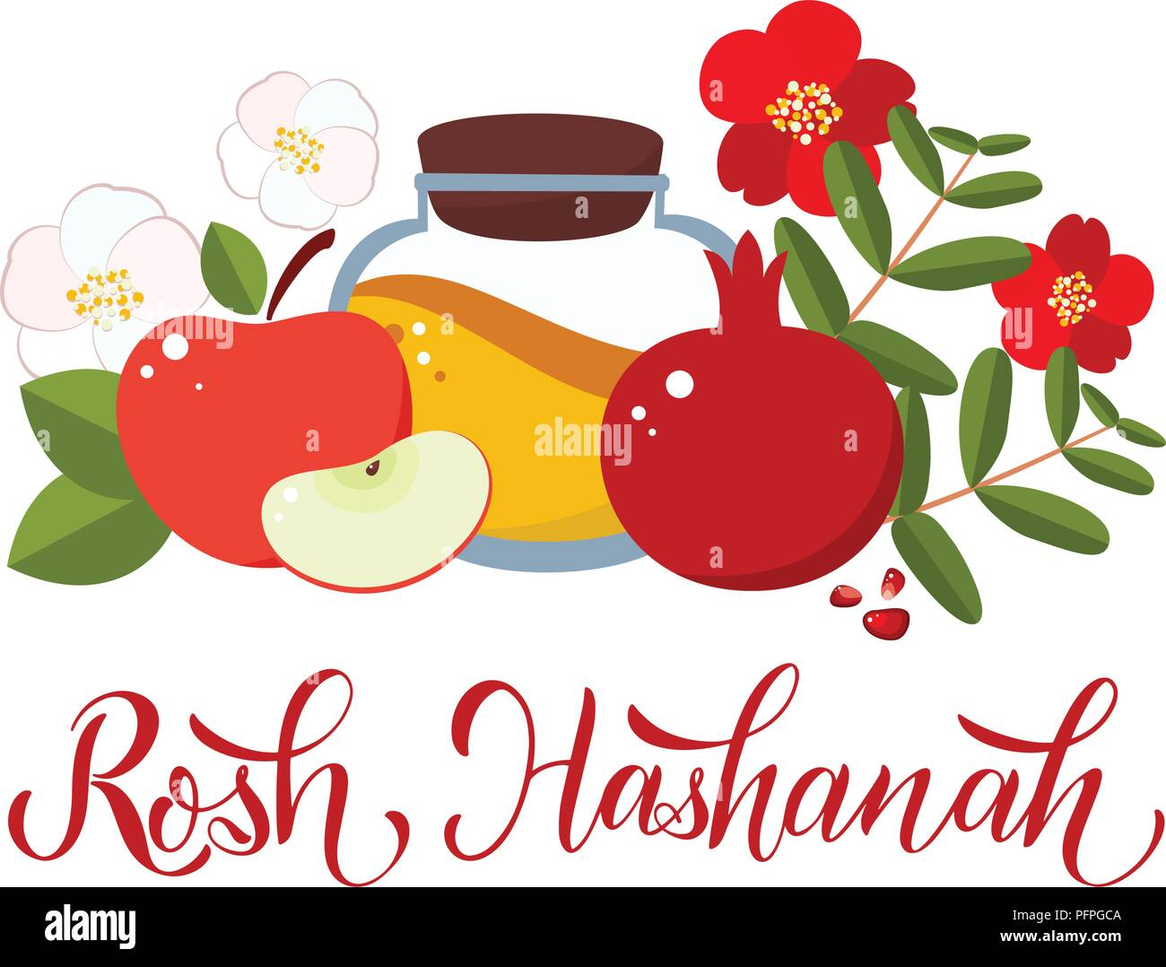 Rosh Hashanah Shana Tova Calligraphy Text For Jewish New Year