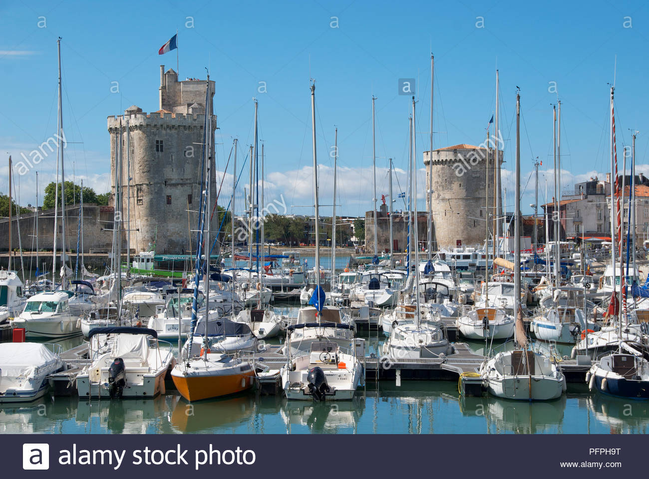 France La Rochelle Vieux Port Boats Moored In Crowded Old Harbour