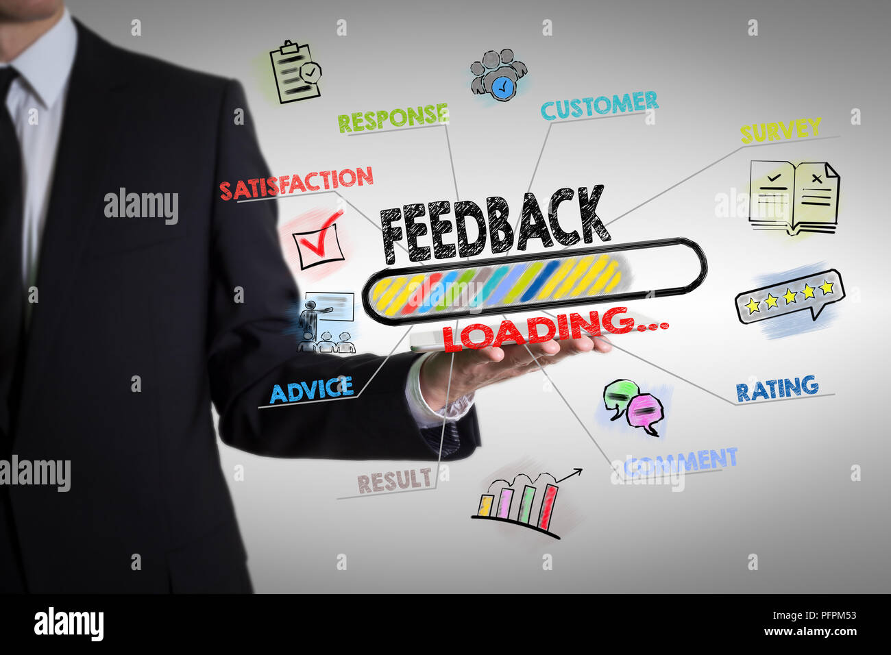Feedback, Business concept. Chart with keywords and icons - Stock Image