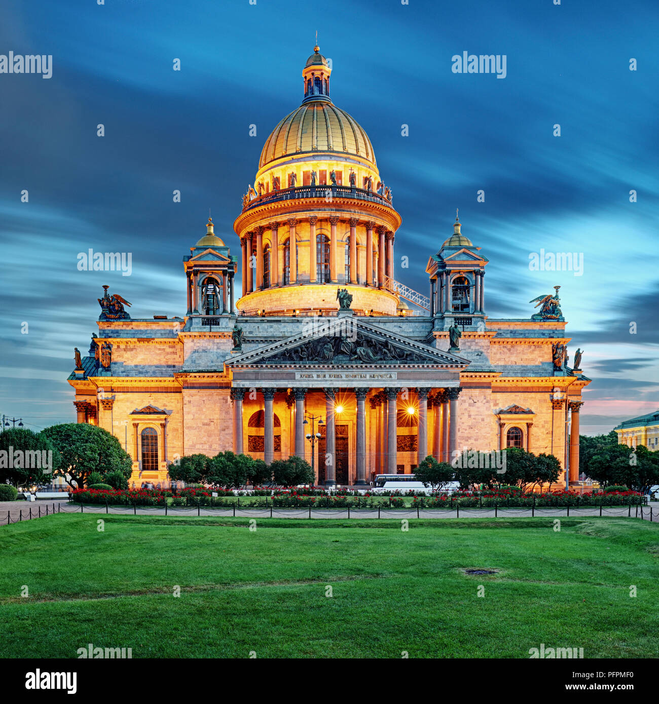Isaac cathedral in St Petersburg at night, Russia. - Stock Image