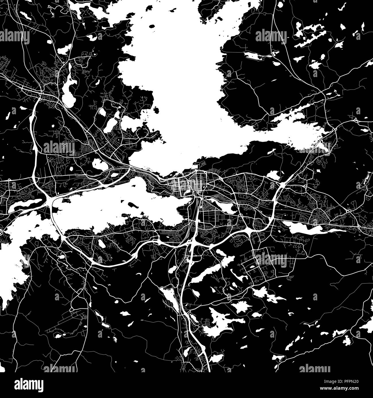 Area map of Tampere, Finland. Dark background version for infographic and marketing projects. This map of Tampere, contains typical landmarks with str - Stock Vector