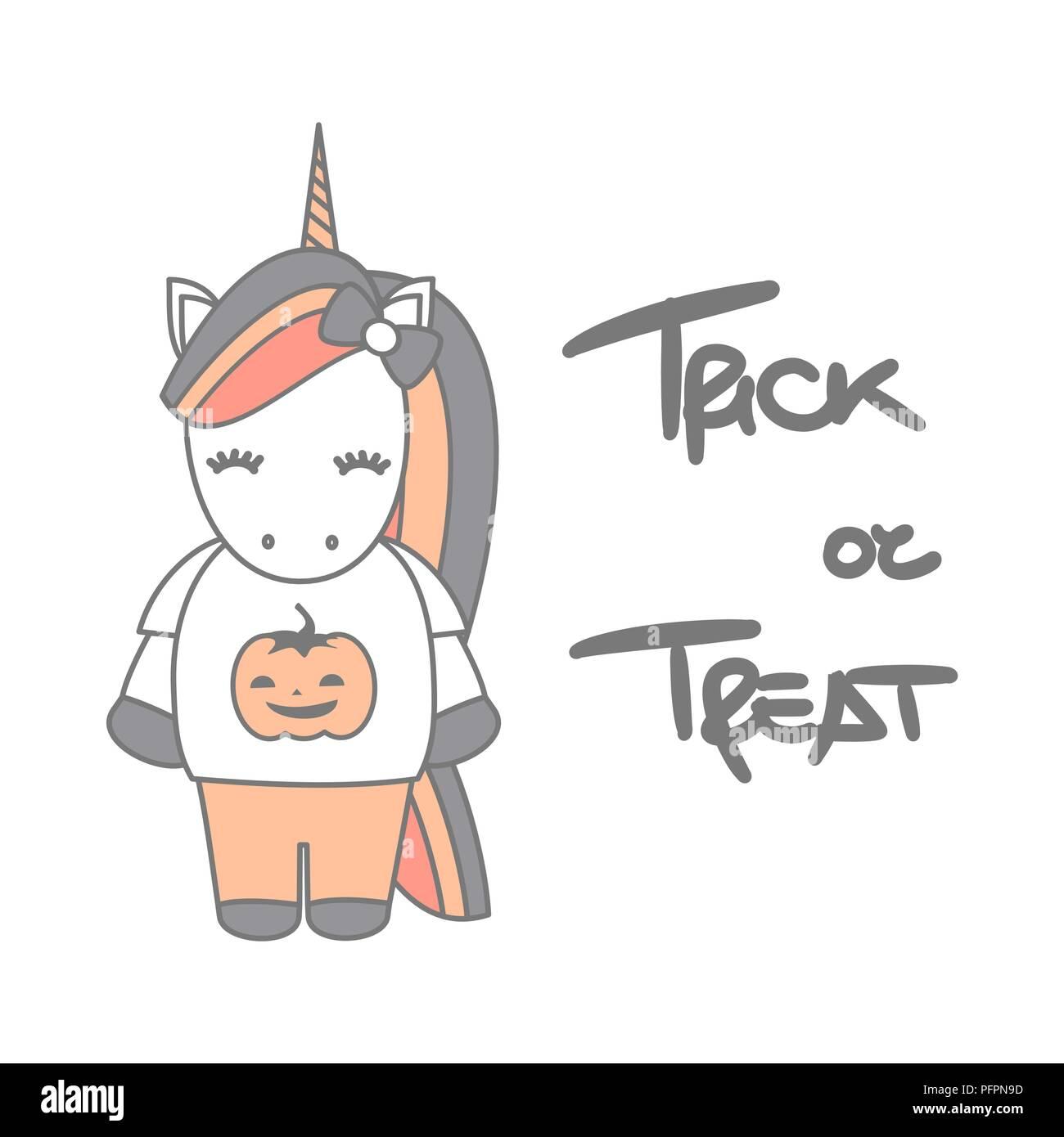 Cute Cartoon Hand Drawn Lettering Trick Or Treat Halloween
