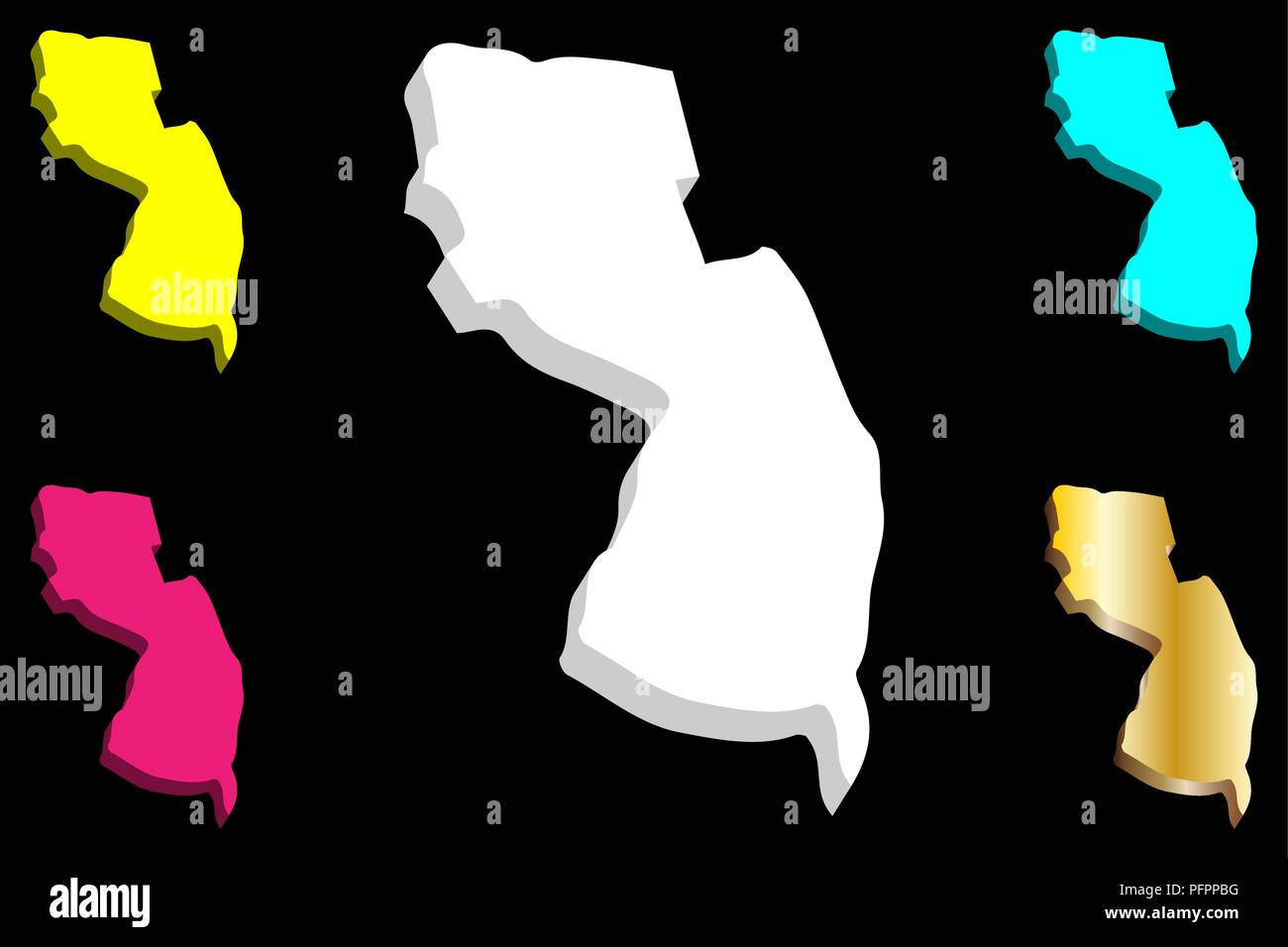 Purple America Map.3d Map Of New Jersey United States Of America The Garden State