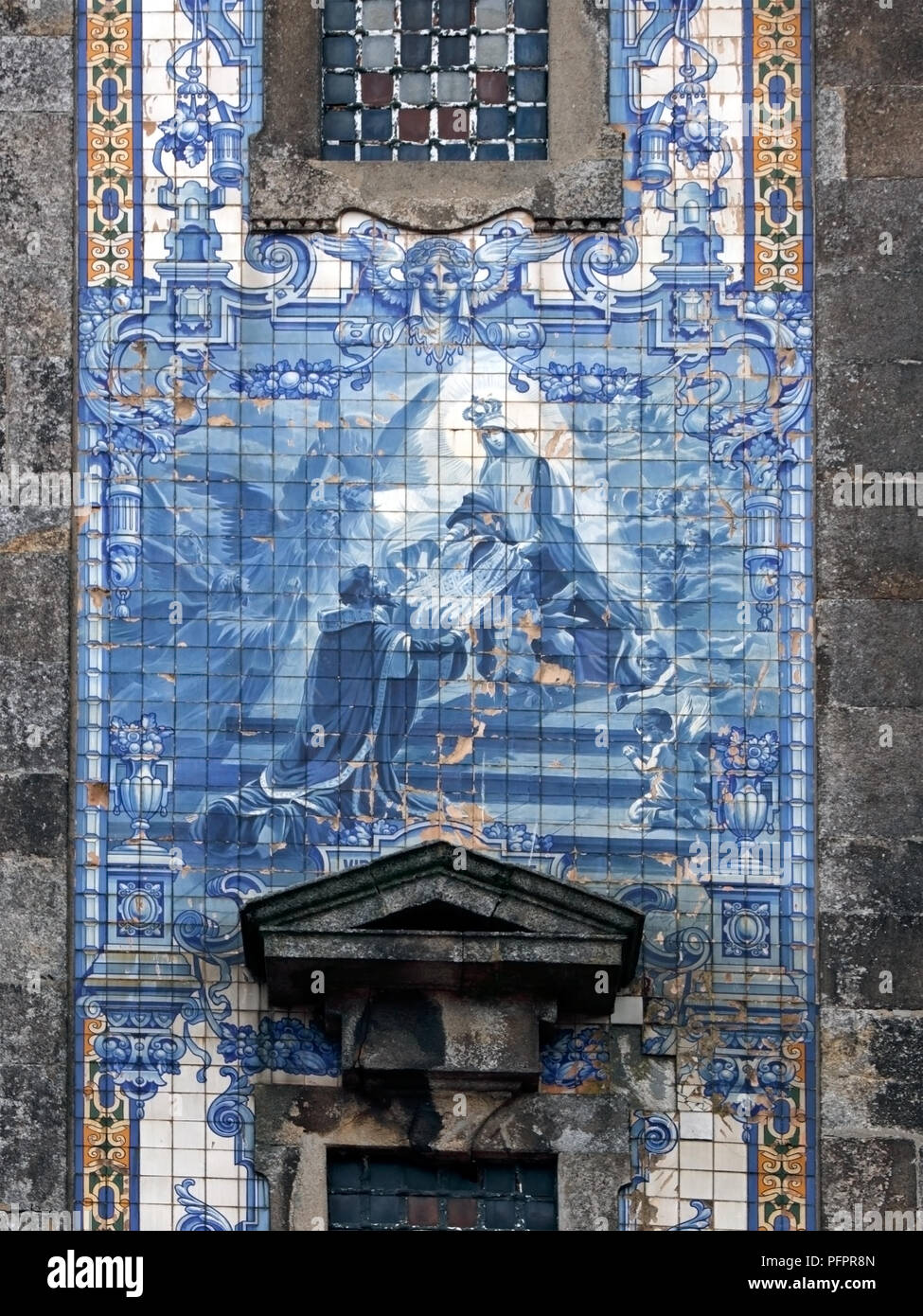 Traditional tiled panel of the old Santo Ildefonso church (early eighteenth century), Porto, Portugal - Stock Image