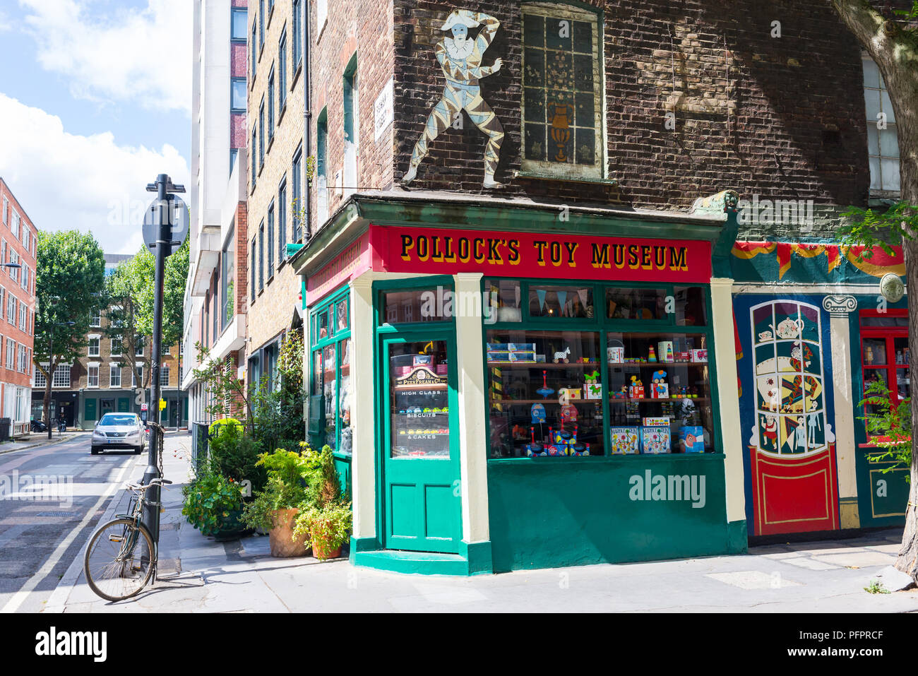 Pollock's Toy Museum, a museum and small toy shop housed in two atmospheric historic unrestored Georgian townhouses buildings in London's Fitzrovia UK - Stock Image