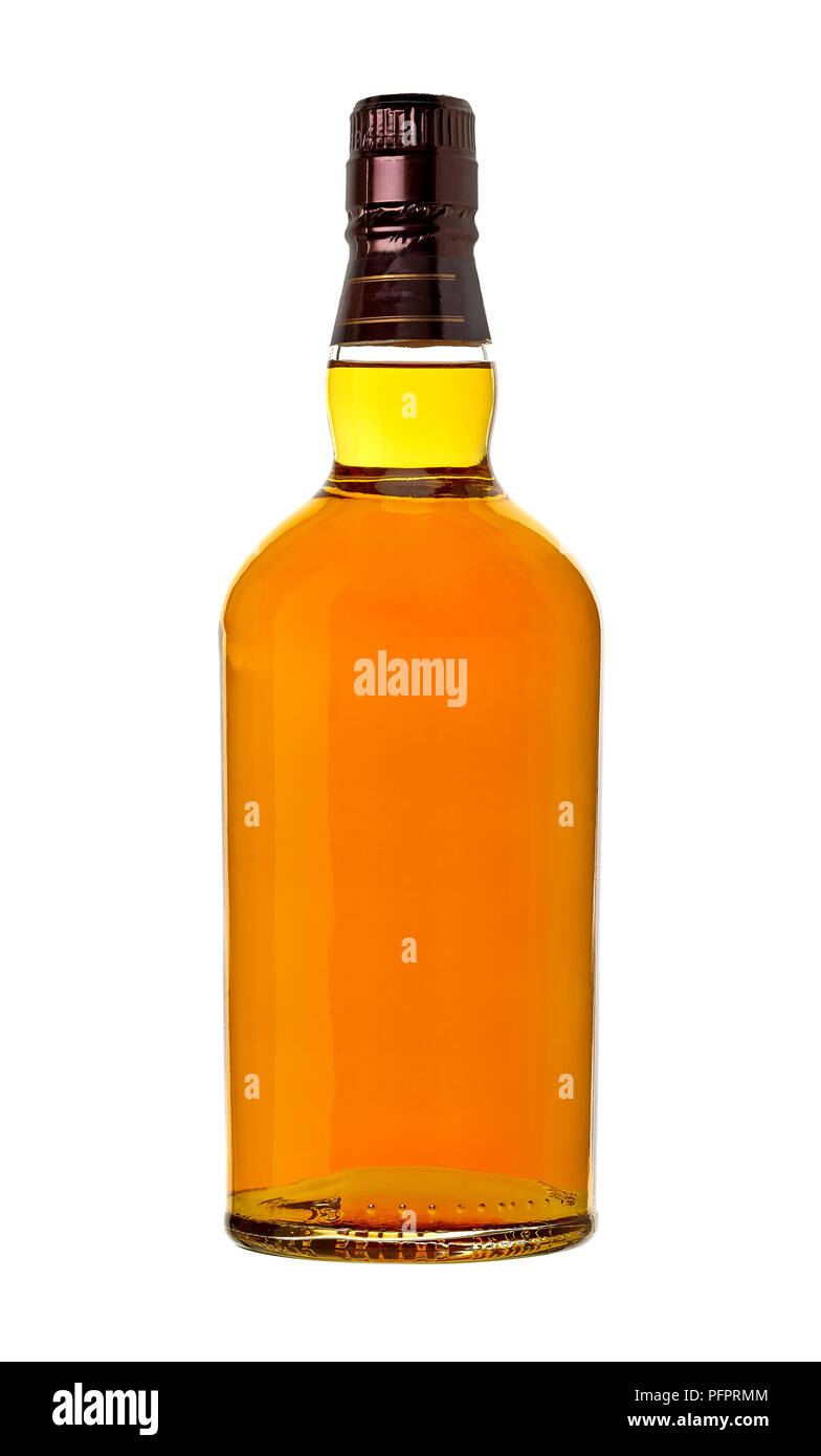 Whiskey in bottle on white background Stock Photo