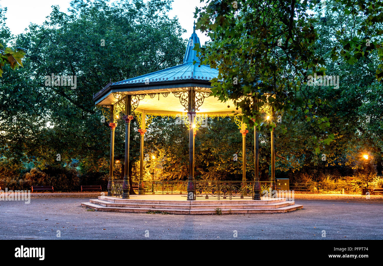 A Victorian Bandstand at Night Battersea Park London UK - Stock Image