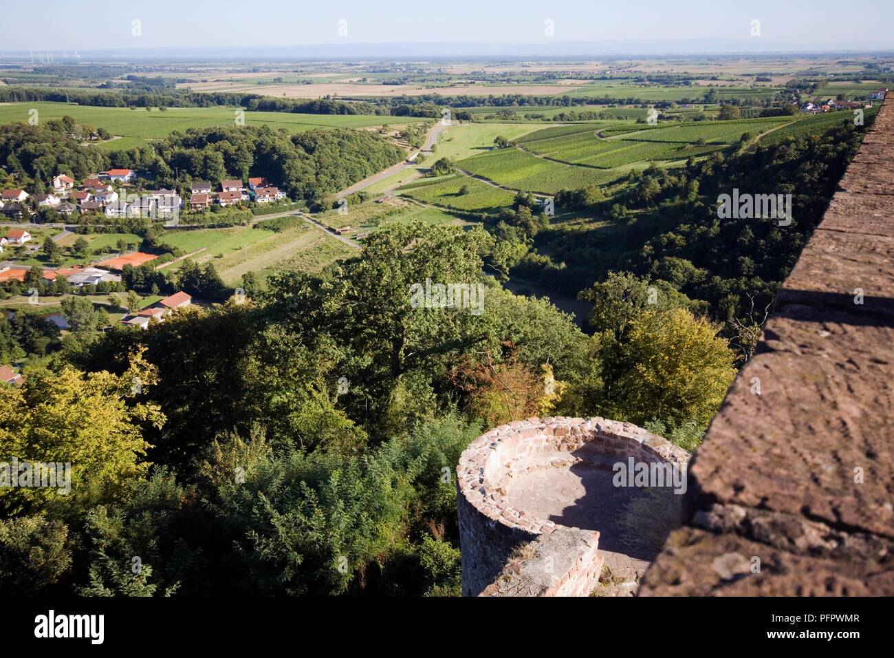 Germany, Rhineland-Palatinate (Rheinland-Pfalz) state, Klingenmunster town, Burg Landeck (Landeck Castle), view from castle ramparts Stock Photo