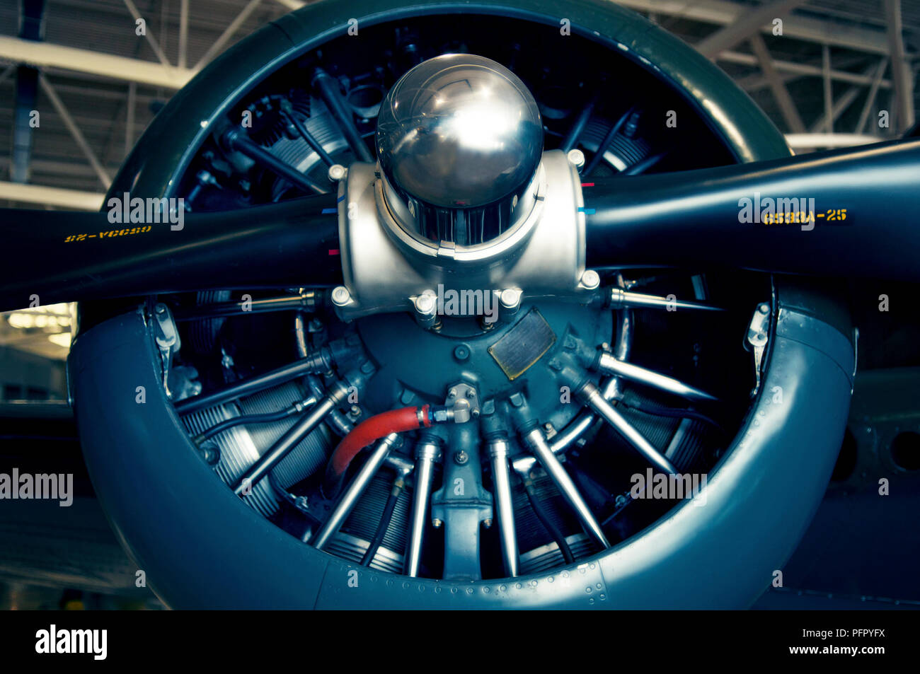 Pratt & Whitney Wasp Engine of 1952 North American Harvard, Canadian Warplane Heritage Museum, Hamilton, Ontario, Canada - Stock Image