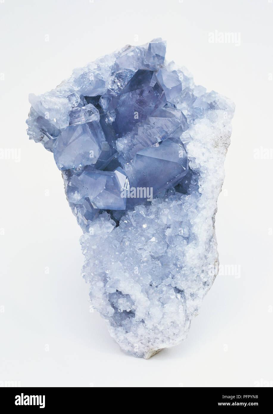 Crystallized blue Celestine - Stock Image