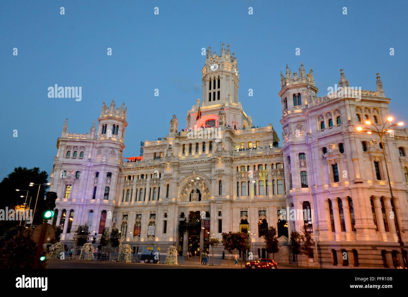 Cybele Palace Palacio De Cibeles Madrid Spain Stock