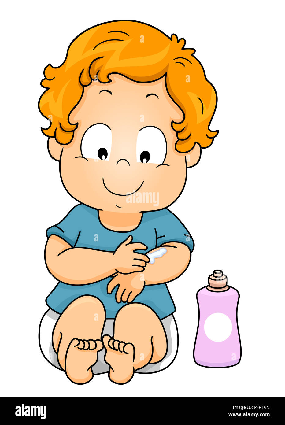Illustration of a Kid Boy with a Bottle of Lotion ...