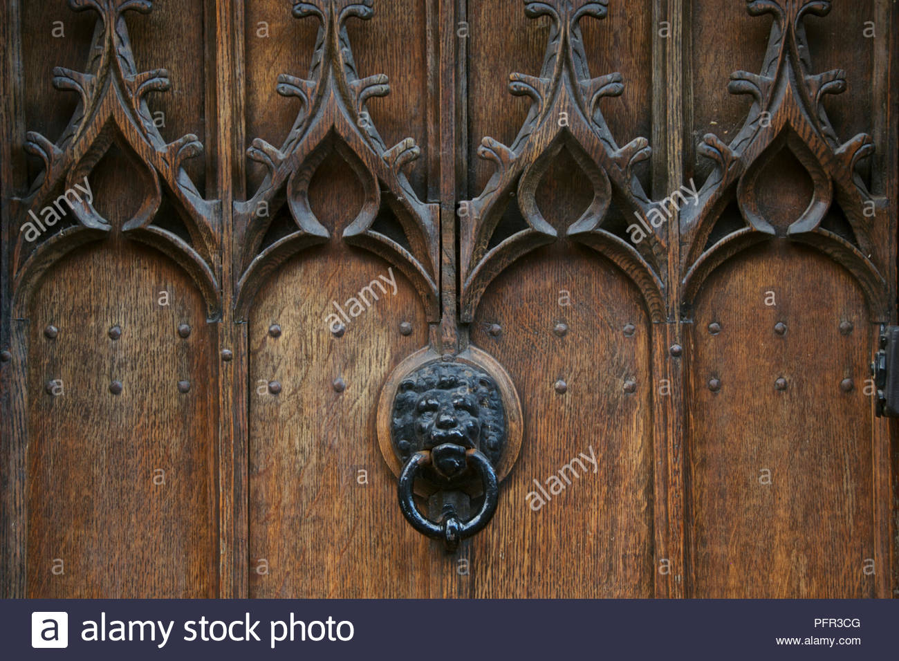 Wooden carved lion head stock photos