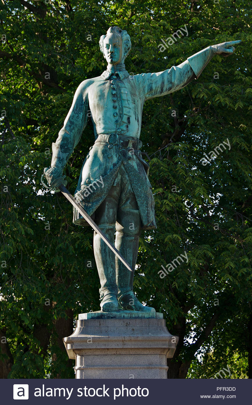 Statue of King Karl XII by Johan Molin in Kungstradgarden (King's Garden) Stockholm, Sweden - Stock Image