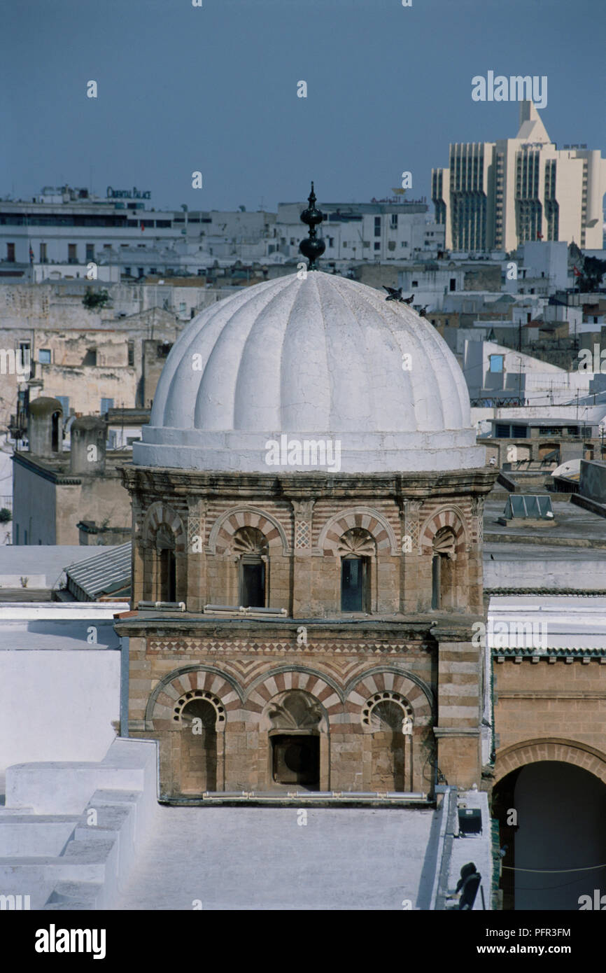 Tunisia Tunis Great Mosque Al Zaytuna Mosque View Of The Dome And City Beyond Stock Photo Alamy