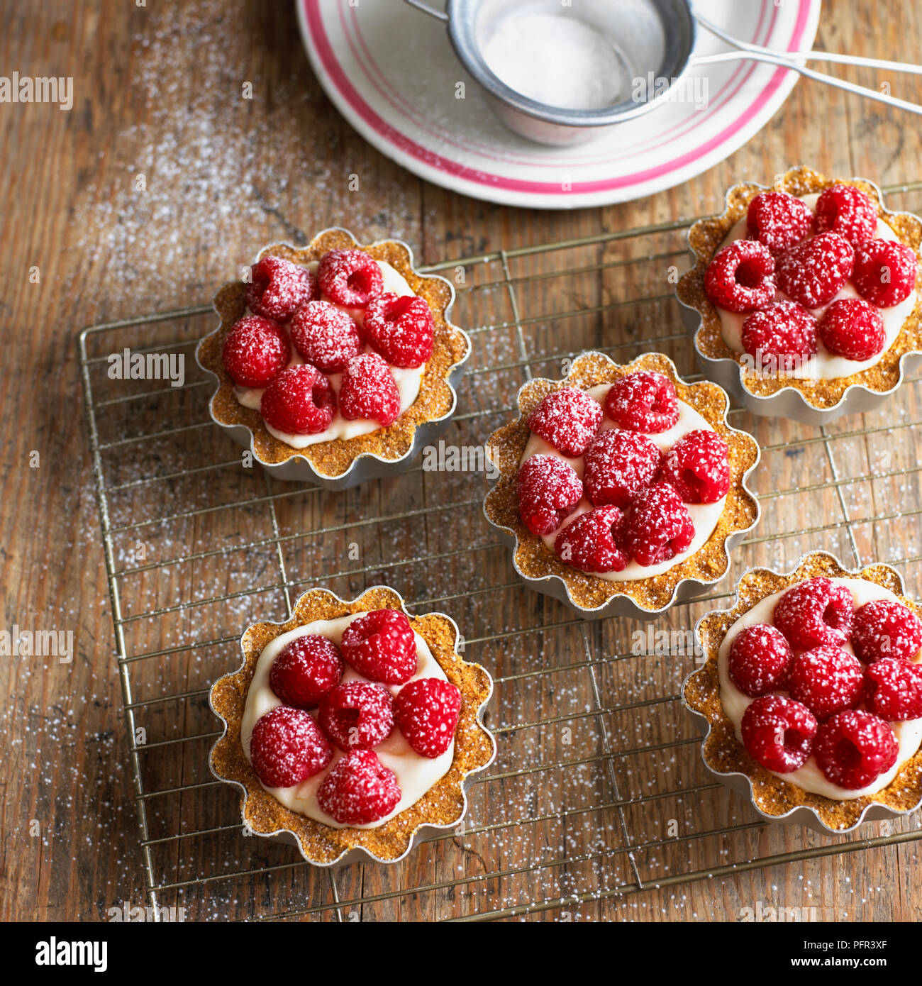 Raspberry tartlets with cream filling and dusted with icing sugar, on wire cooling rack - Stock Image