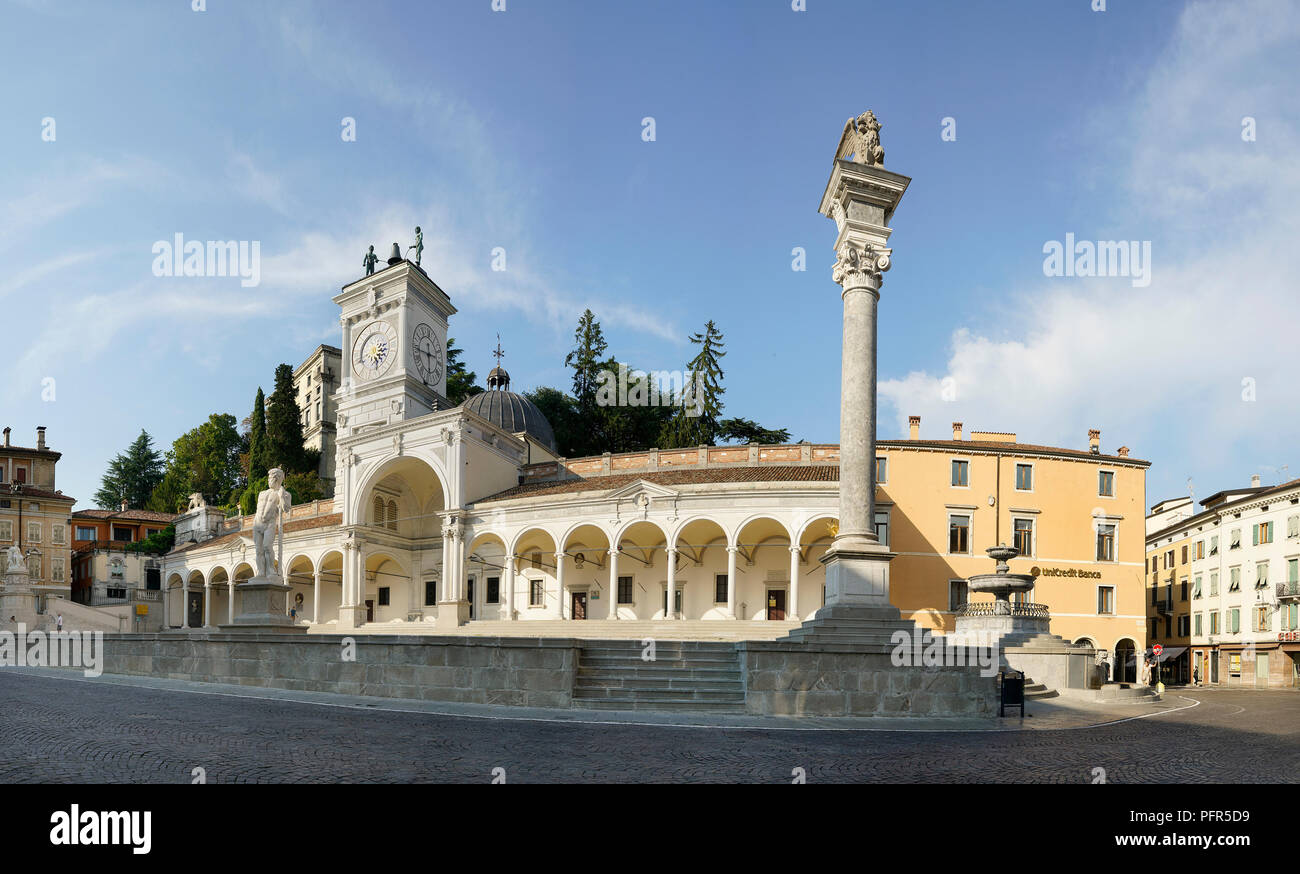 Panoramic view of Piazza Libertà in the historic center of Udine, Italy - Stock Image