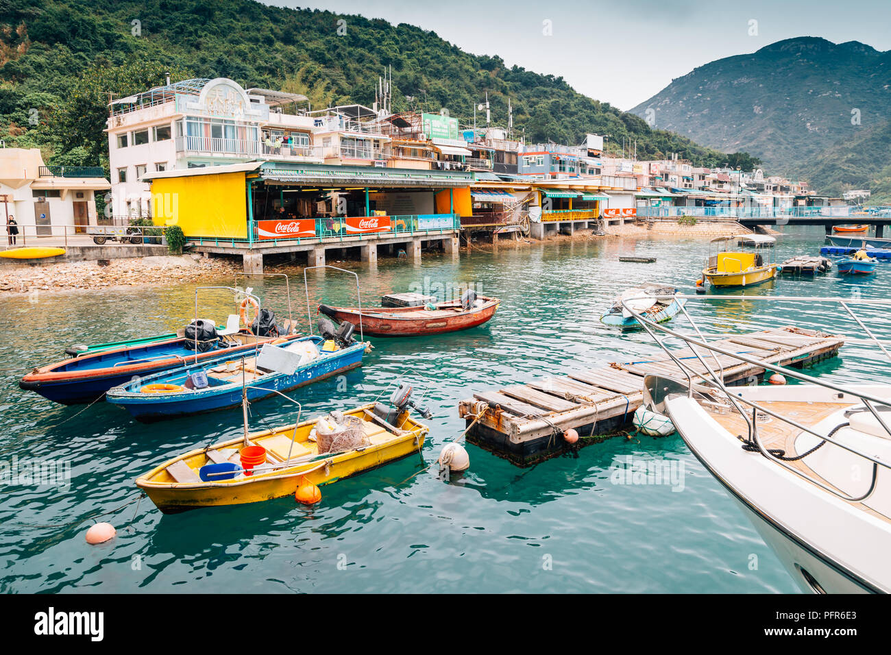 Hong Kong - March 16, 2017 : Lamma island Sok Kwu Wan fishing village harbor view - Stock Image