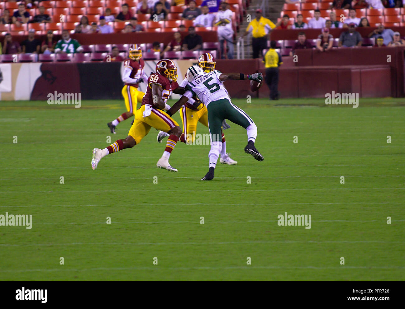 New York Jets Quarterback running the during Redskins home preseason game at FedEx Field - Stock Image