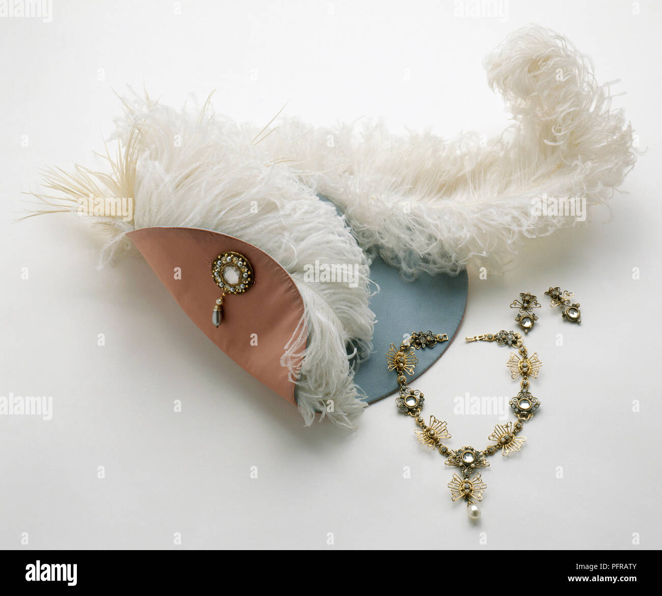 Feather hat, necklace and earrings worn in the movie The Three Musketeers - Stock Image