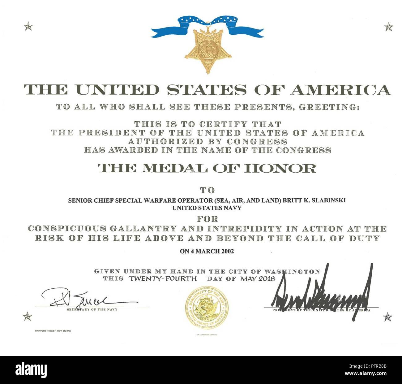 (May 25, 2018) The Medal of Honor certificate of retired Master Chief Special Warfare Operator (SEAL) Britt Slabinski. President Donald J. Trump presented the Medal of Honor to Slabinski during a ceremony at the White House in Washington, D.C. Slabinski received the Medal of Honor for his actions during Operation Anaconda in Afghanistan in March 2002. Stock Photo