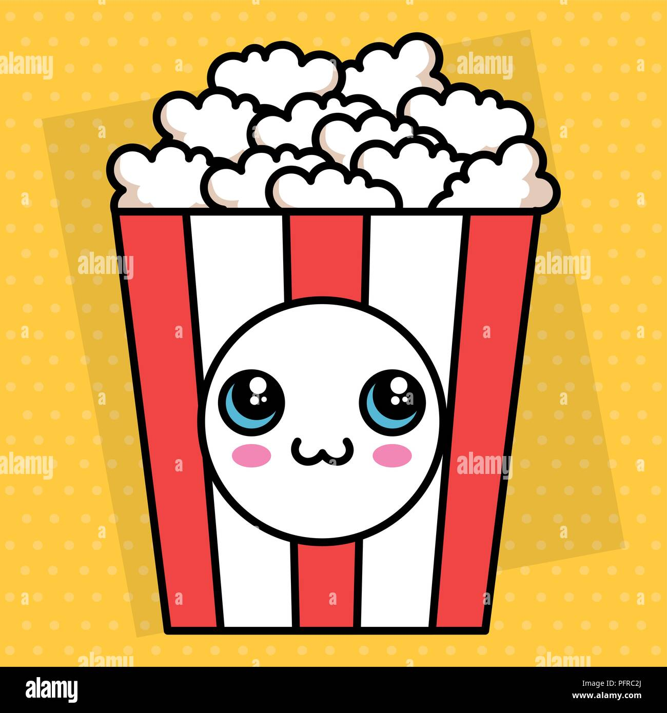 Pop Corn Kawaii Character Stock Vector Art Illustration