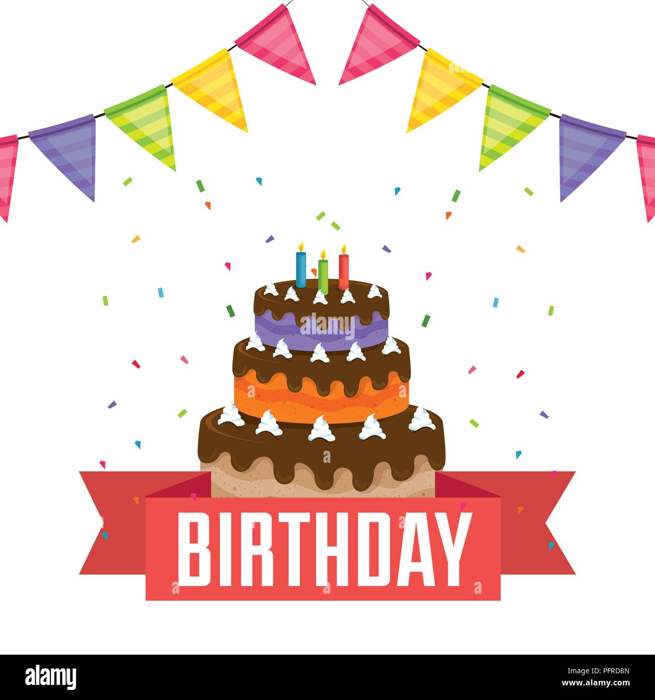 Happy Birthday Card With Cake And Garlands Stock Vector Art