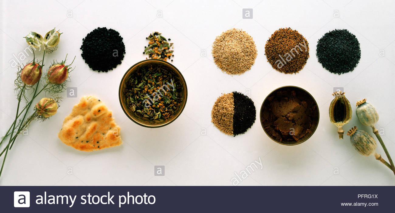 Forms and Uses of the Spices Nigella and Poppy - Stock Image