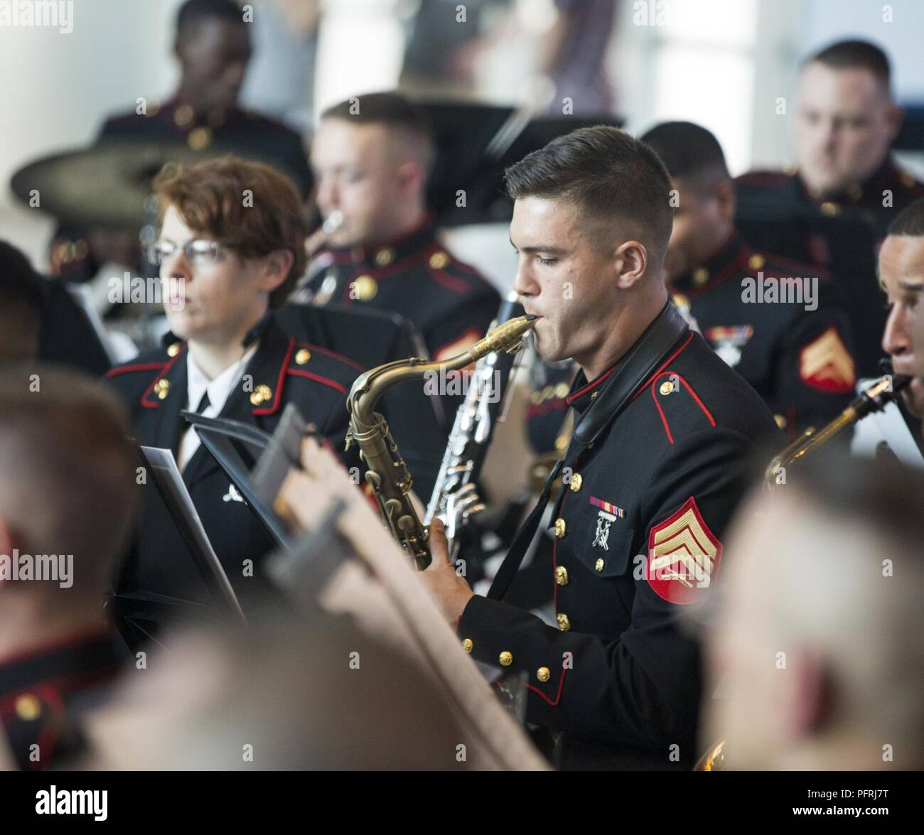 Sgt. Spencer Day, a saxophone player with The Marine Forces Reserve Band, plays his instrument during a Memorial Day Remembrance ceremony at the World War II Museum in New Orleans, May 26, 2018. The Marines performed to the public to honor the men and women who have given the ultimate sacrifice for their nation. - Stock Image