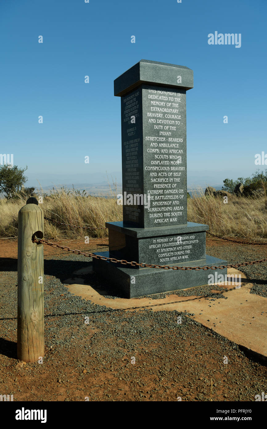 Ladysmith, KwaZulu-Natal, memorial, Spioenkop Battlefield tribute to Indian and African ambulance men, scouts, cooks, drivers, KIA, South African War - Stock Image