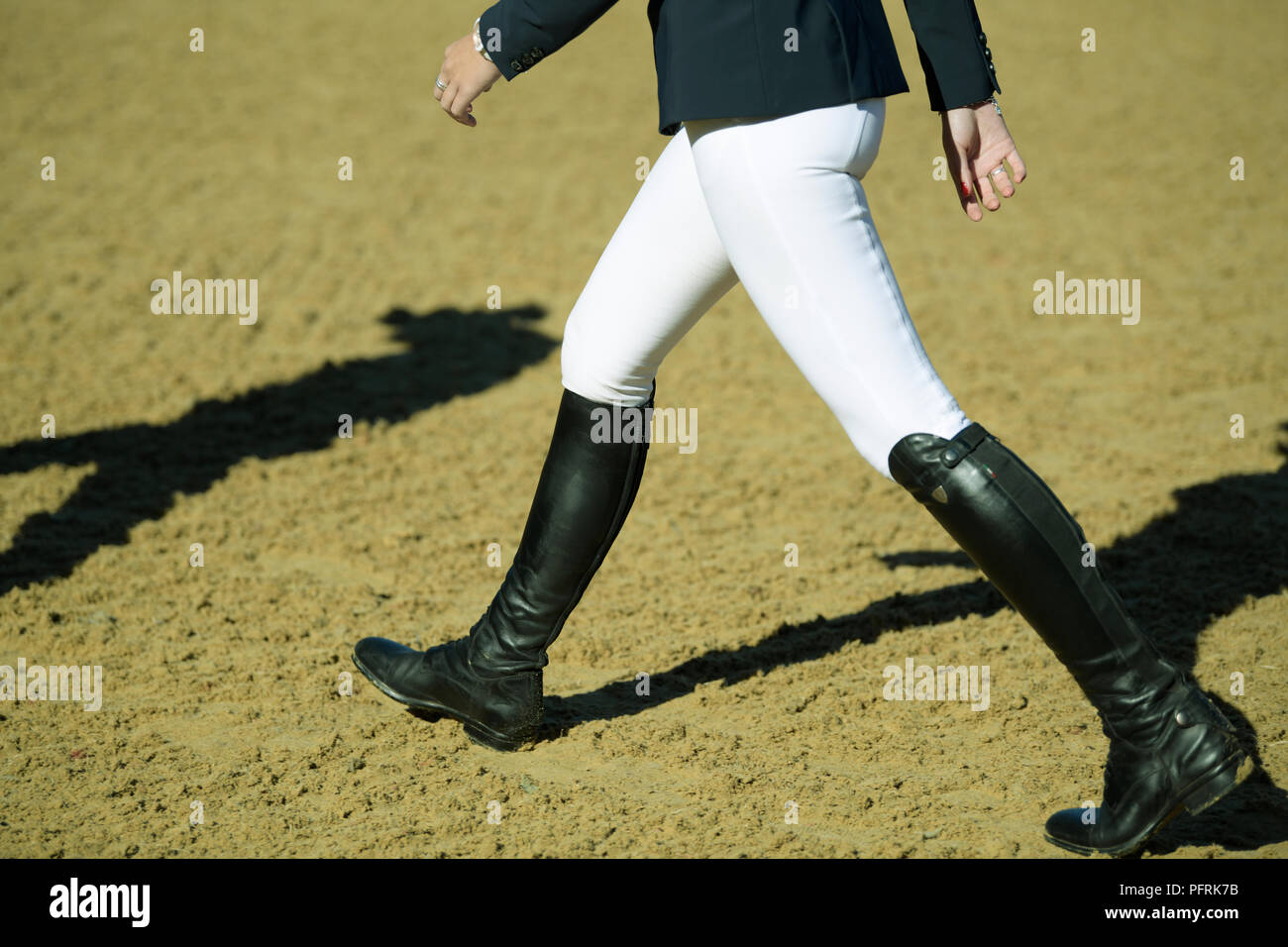 Close Up Detail Black Boots White Trousers Single Woman Competitor Walking Arena Horse Show Jumping Event People Stock Photo Alamy