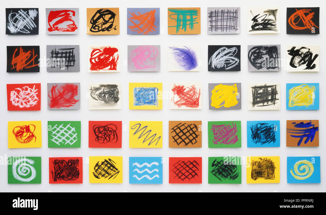 Colourful doodles on pieces of coloured paper, arranged in five rows Stock Photo