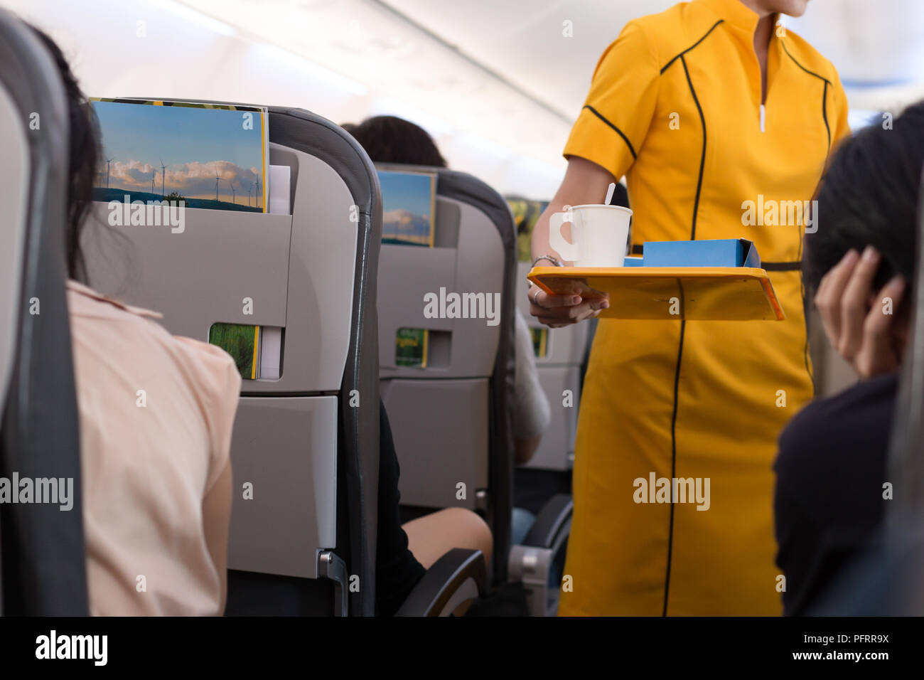 Flight attendant offering beverage to a passenger  - Stock Image