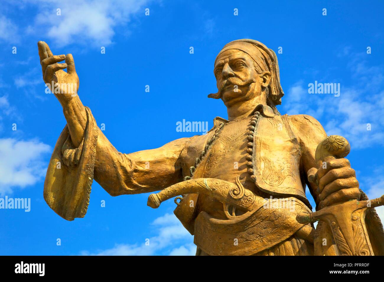 The Statue of the Famous Greek Hero Petros Mavromichalis, Areopoli, Mani Peninsula, The Peloponnese, Greece, Southern Europe - Stock Image