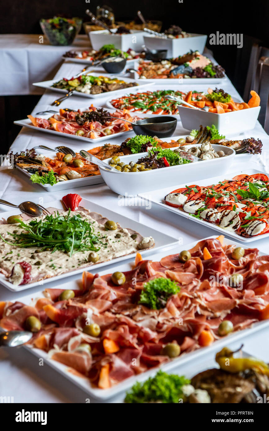 Party Brunch Big Buffet Table Setting With Food Meat ...