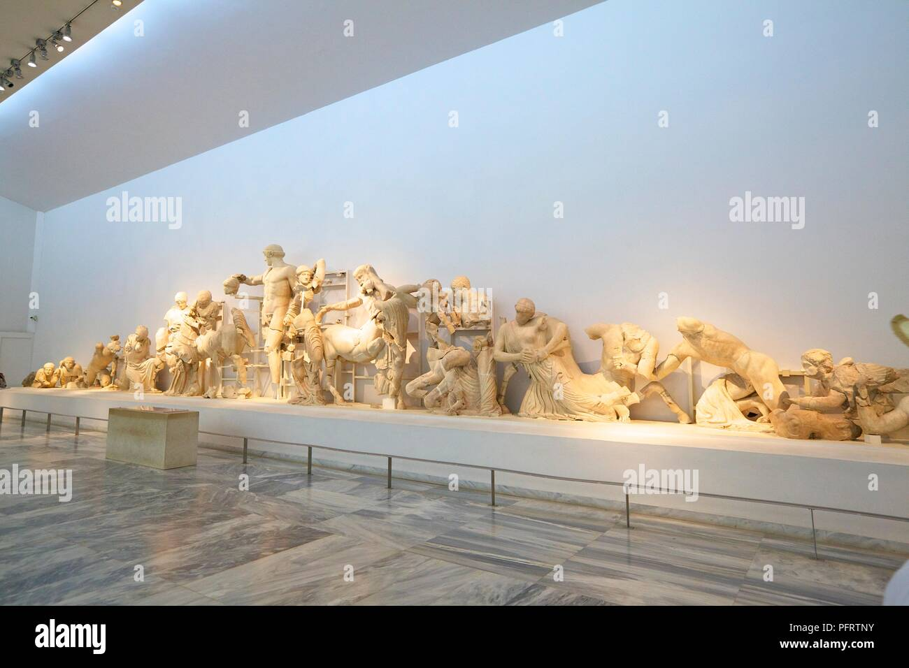 West Pediment of the Temple of Zeus, Olympia, Arcadia, The Peloponnese, Greece, Southern Europe - Stock Image
