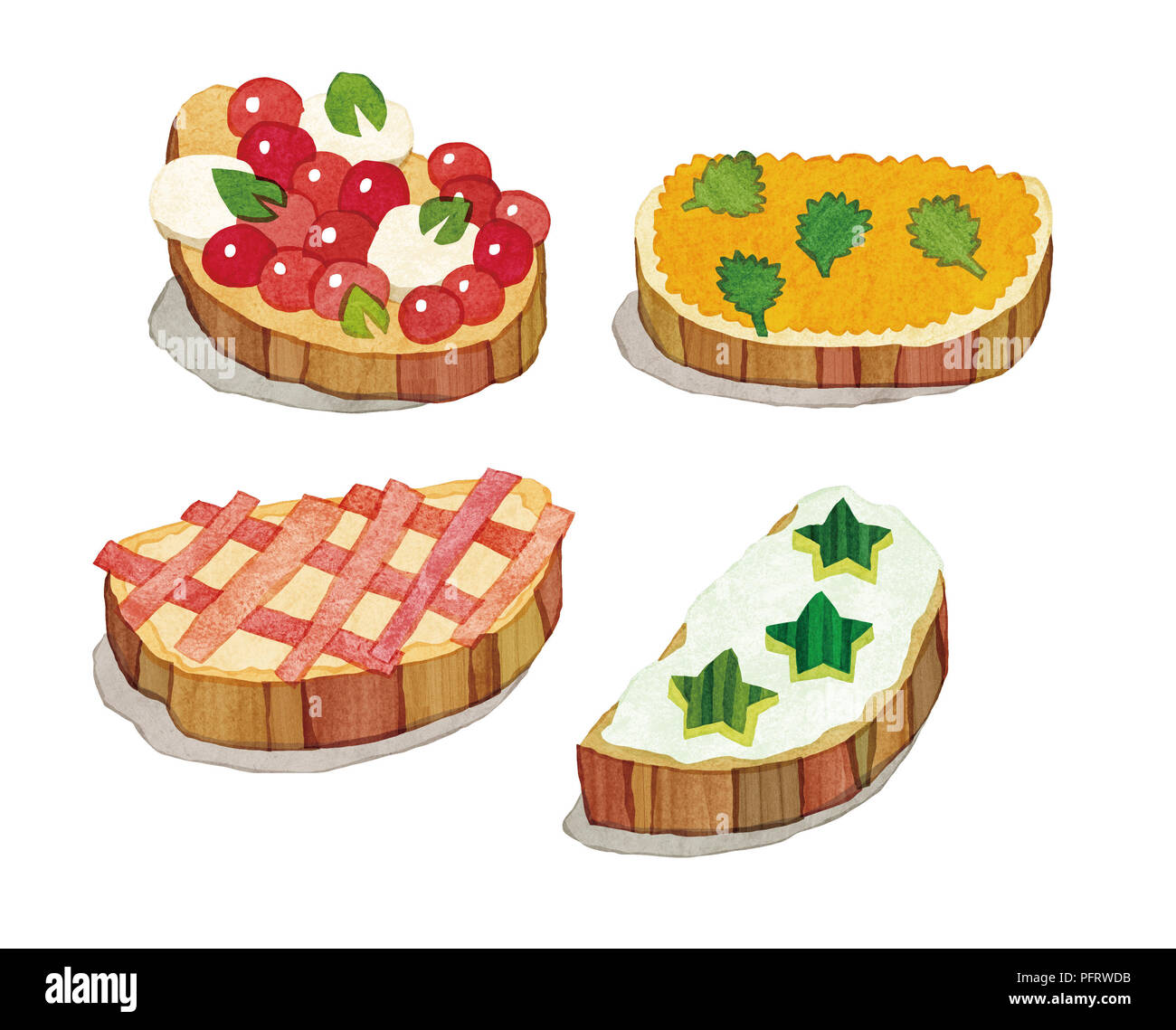 Illustration, Crostini with different toppings - Stock Image