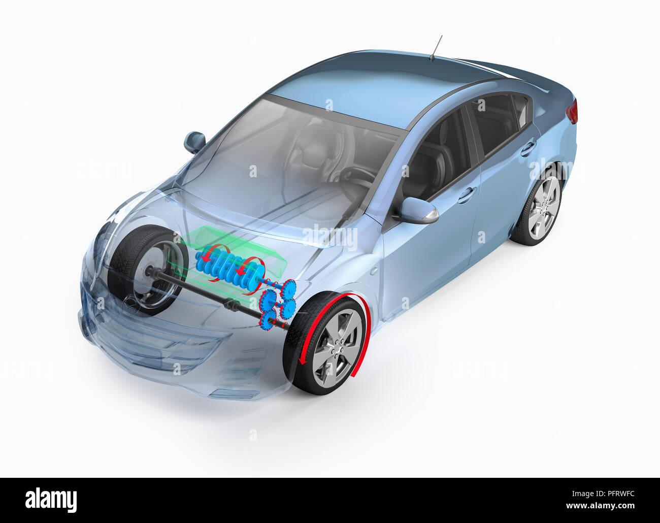Illustration, internal mechanisms of a car - Stock Image