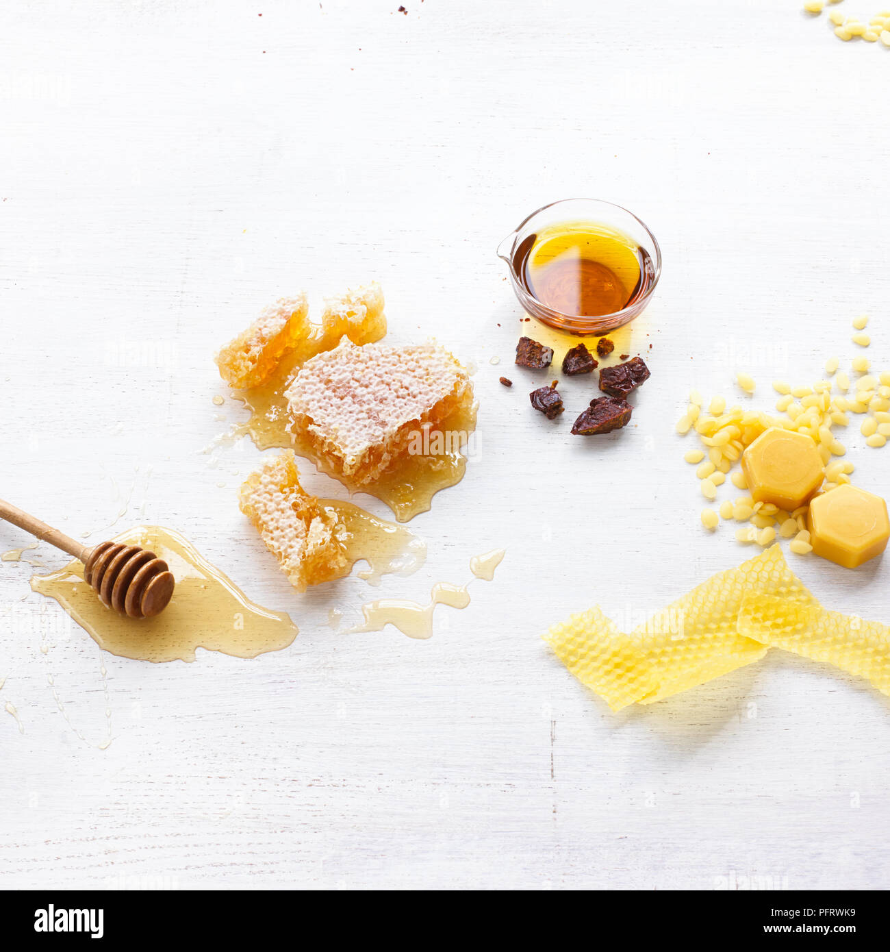 Bee ingredients for making natural cosmetics, beeswax, honey, propolis - Stock Image