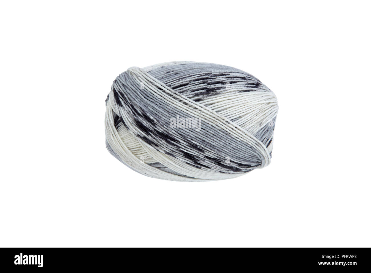 Ball of grey and white wool - Stock Image