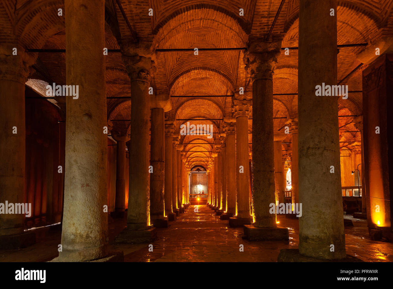 Istanbul, Turkey - August 21, 2018: Illuminated columns of the Basilica Cistern on  August 21, 2018 in Istanbul, Turkey. - Stock Image