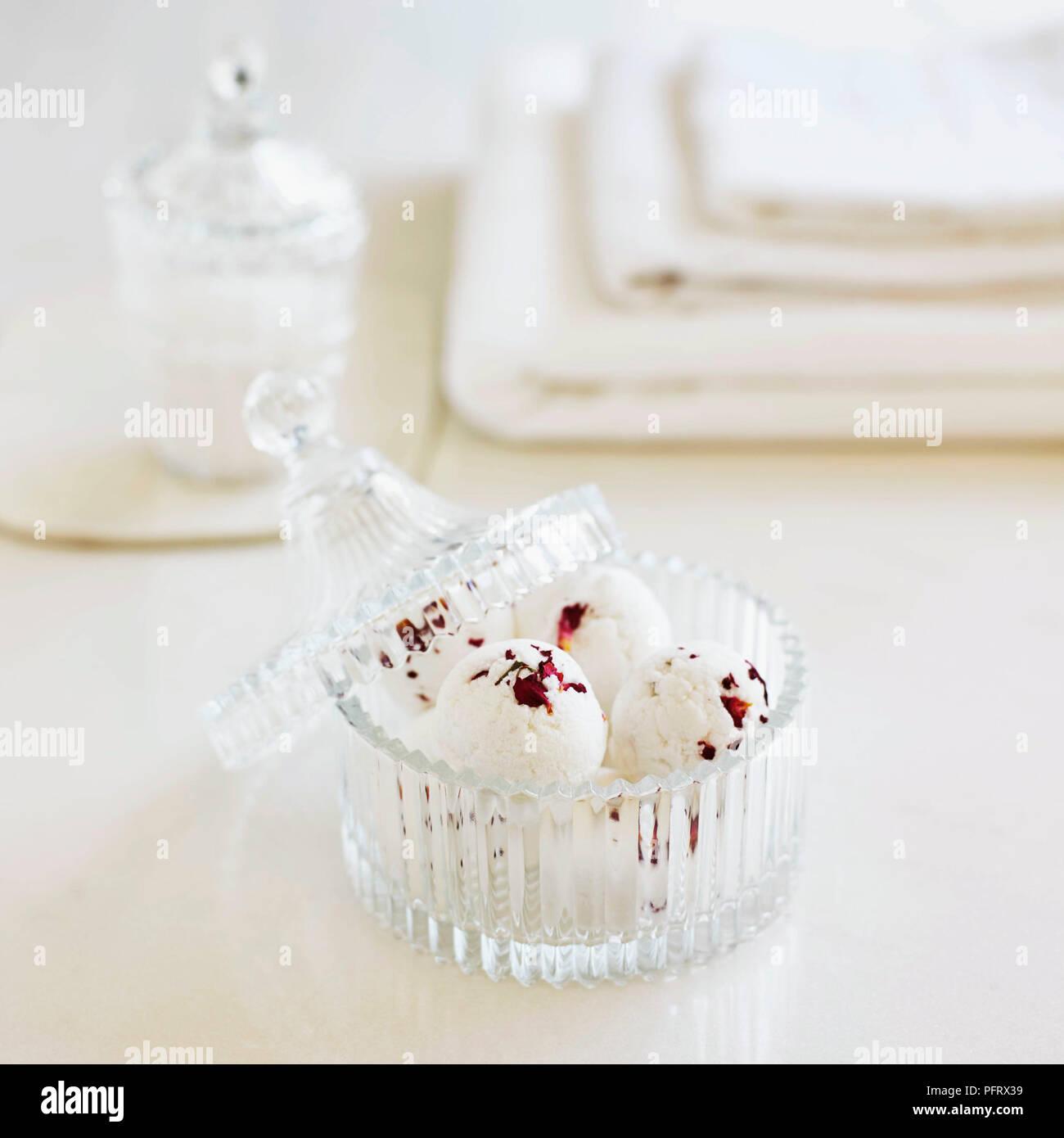 Rose bath bombs - Stock Image