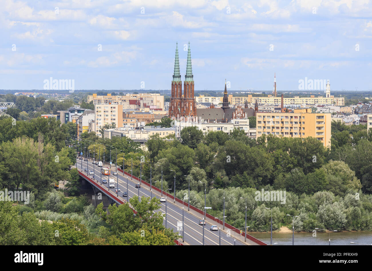 Slasko-Dabrowski Bridge and Warsaw's Praga district with towers of St. Florian cathedral viewed from  viewing terrace on tower of St. Anna church - Stock Image