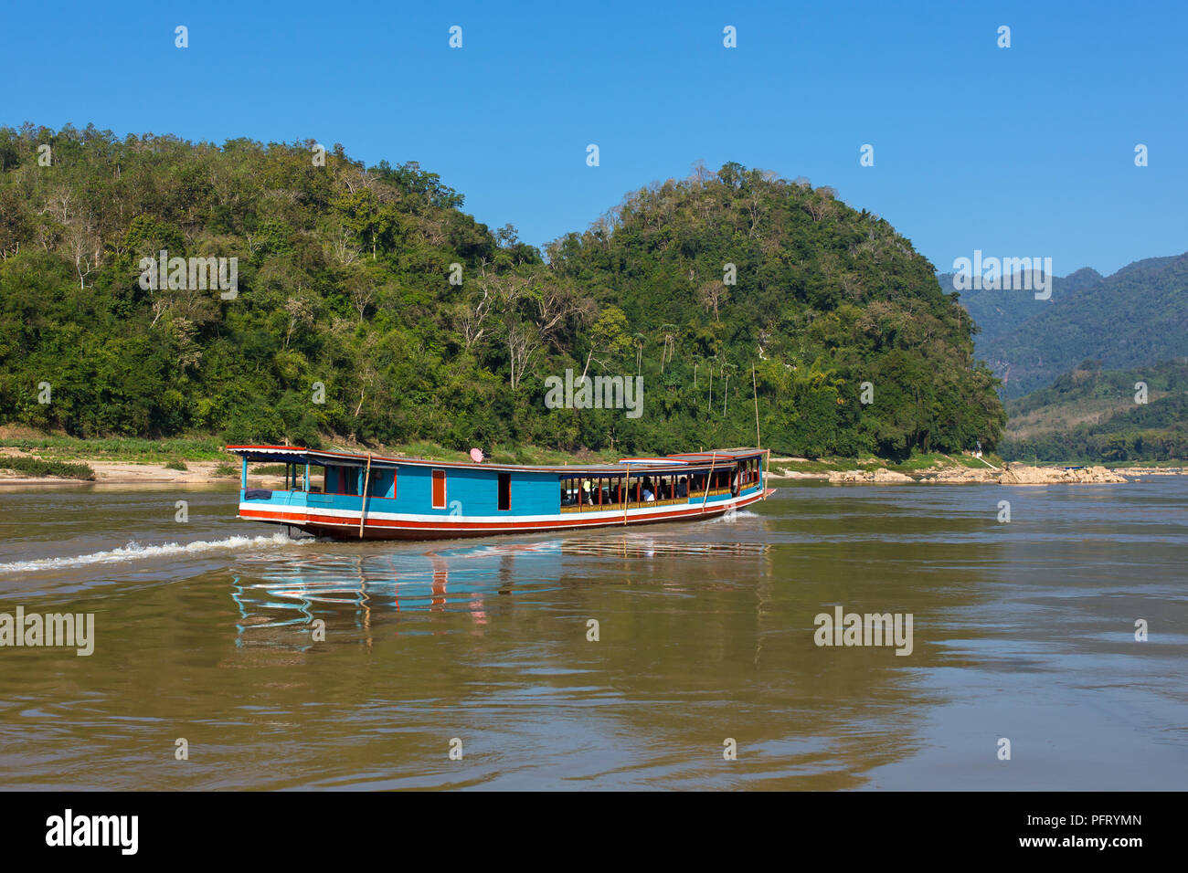 Boat on the Mekong river Laos - Stock Image