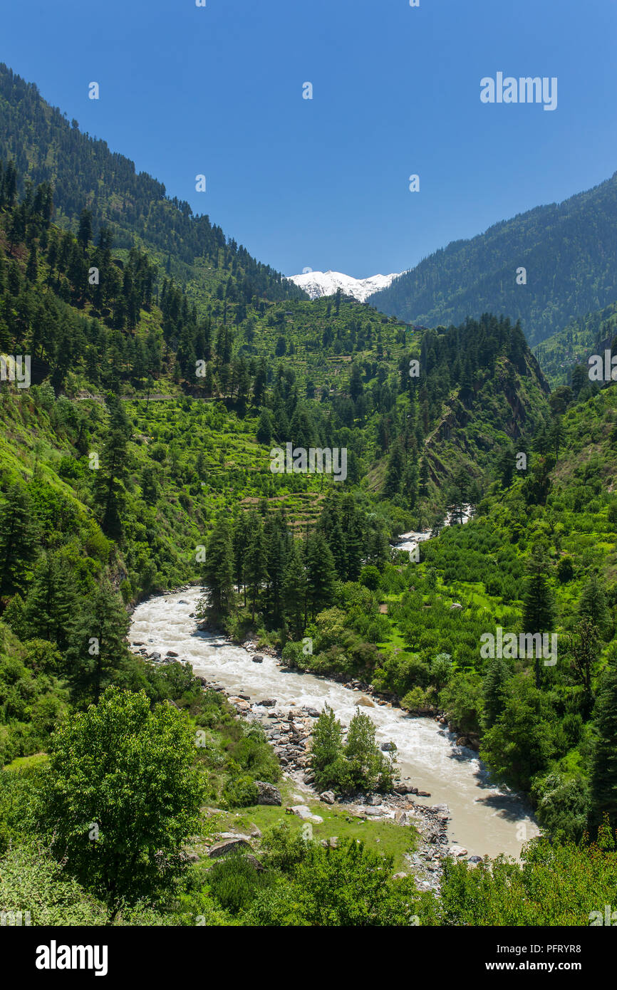 Beautiful view of Parvati valley in Himachal Pradesh, India. - Stock Image