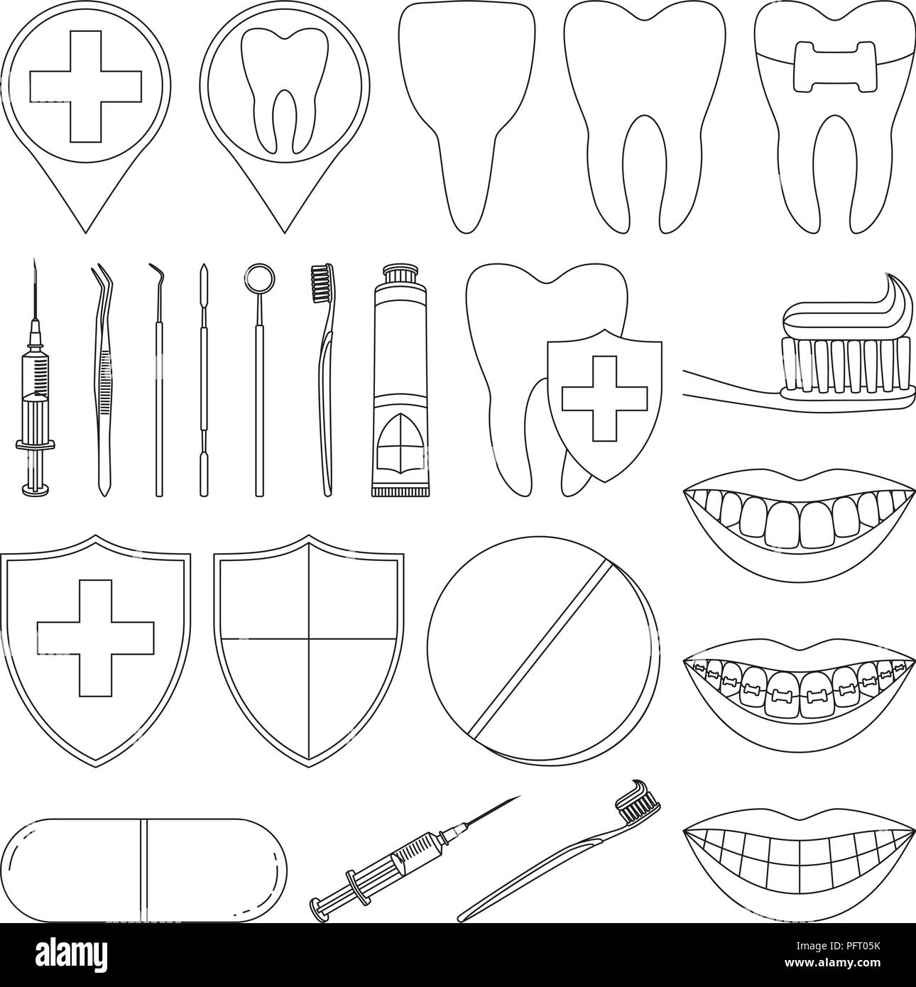 Line art black and white dental 23 elements set - Stock Vector