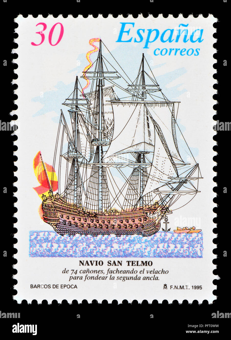 """Spanish postage stamp (1995) : San Telmo (""""Saint Peter Gonzalez"""" or """"Saint Erasmus of Formiae"""") Spanish 74-gun ship of the line, launched in 1788 Stock Photo"""
