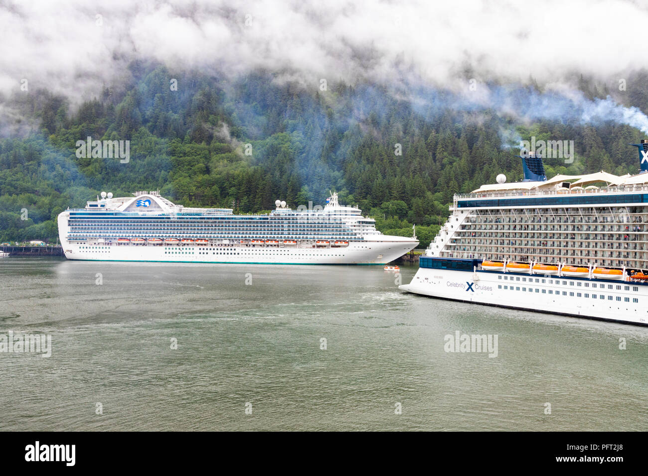 Cruise ships in harbour at Juneau the capital city of Alaska, USA - Stock Image