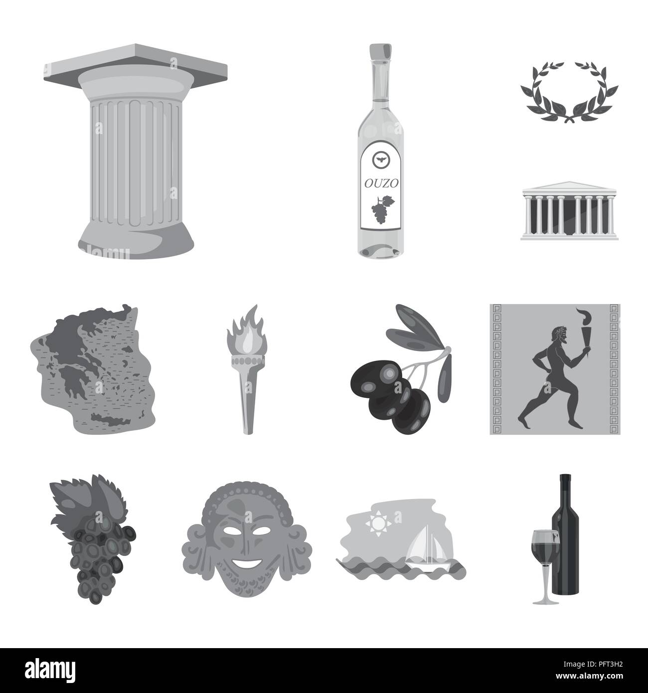 Country Greece monochrome icons in set collection for design.Greece and landmark vector symbol stock  illustration. - Stock Image
